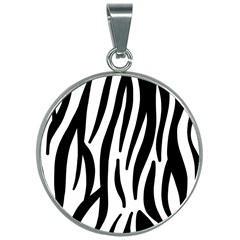 Seamless Zebra A Completely Zebra Skin Background Pattern 30mm Round Necklace