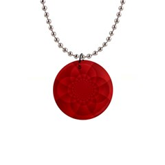 Psychedelic Art Red  Hi Tech 1  Button Necklace
