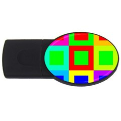 Colors Purple And Yellow Usb Flash Drive Oval (2 Gb)