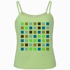 Colorful Green Background Tile Pattern Green Spaghetti Tank by Jojostore