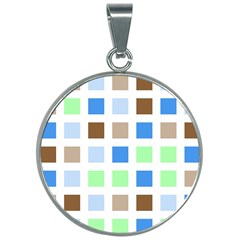 Colorful Green Background Tile Pattern 30mm Round Necklace