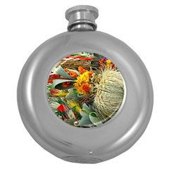 Flower Color Nature Plant Crafts Round Hip Flask (5 Oz)