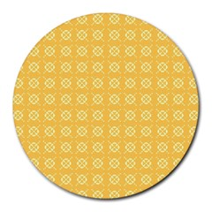 Pattern Background Texture Yellow Round Mousepads by Sapixe