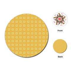 Pattern Background Texture Yellow Playing Cards (round) by Sapixe