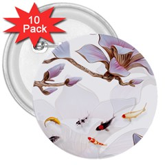 Fishes And Flowers 3  Buttons (10 Pack)