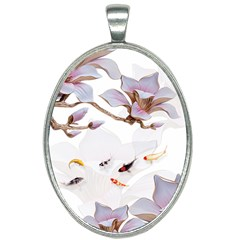 Fishes And Flowers Oval Necklace by burpdesignsA