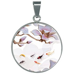 Fishes And Flowers 30mm Round Necklace by burpdesignsA