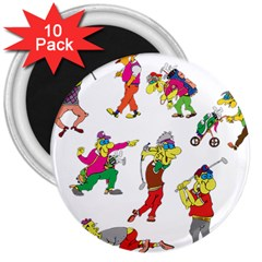 Golfers Athletes The Form Of 3  Magnets (10 Pack)  by Sapixe