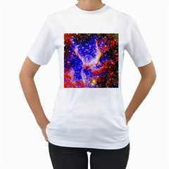 Galaxy Nebula Stars Space Universe Women s T Shirt (white) (two Sided)