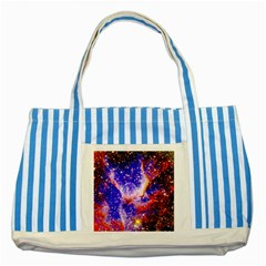 Galaxy Nebula Stars Space Universe Striped Blue Tote Bag