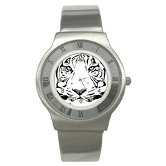 Tiger Black Ans White Stainless Steel Watch by alllovelyideas