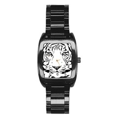 Tiger Black Ans White Stainless Steel Barrel Watch by alllovelyideas
