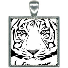 Tiger Black Ans White Square Necklace