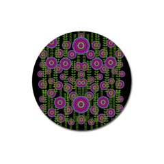 Black Lotus Night In Climbing Beautiful Leaves Magnet 3  (round) by pepitasart