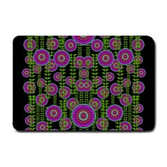 Black Lotus Night In Climbing Beautiful Leaves Small Doormat  by pepitasart