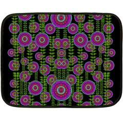 Black Lotus Night In Climbing Beautiful Leaves Double Sided Fleece Blanket (mini)  by pepitasart