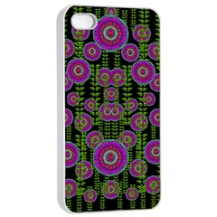 Black Lotus Night In Climbing Beautiful Leaves Apple Iphone 4/4s Seamless Case (white) by pepitasart