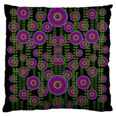 Black Lotus Night In Climbing Beautiful Leaves Large Cushion Case (two Sides) by pepitasart
