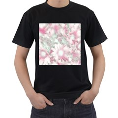 Romantic Pastel Floral,pink Men s T Shirt (black) by MoreColorsinLife