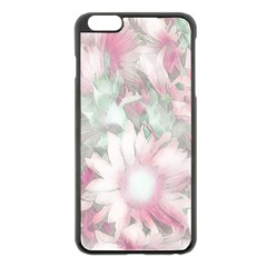Romantic Pastel Floral,pink Apple Iphone 6 Plus/6s Plus Black Enamel Case