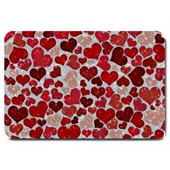 Sparkling Hearts, Red Large Doormat  by MoreColorsinLife