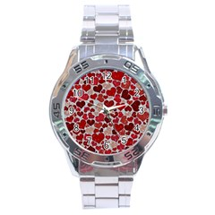 Sparkling Hearts, Red Stainless Steel Analogue Watch
