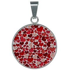 Sparkling Hearts, Red 25mm Round Necklace by MoreColorsinLife