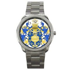 Coat Of Arms Of Kingdom Of Galicia, 16th Century Sport Metal Watch by abbeyz71