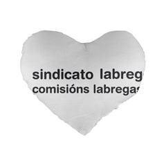 Sindicato Labrego Galego Comisi¨?ns Labregas Logo Standard 16  Premium Flano Heart Shape Cushions by abbeyz71