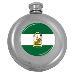 Flag Of Andalusia Round Hip Flask (5 Oz) by abbeyz71