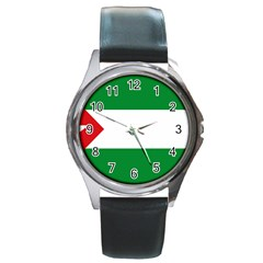 Flag Of Andalucista Youth Wing Of Andalusian Party Round Metal Watch