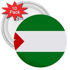 Flag Of Andalucista Youth Wing Of Andalusian Party 3  Buttons (10 Pack)  by abbeyz71