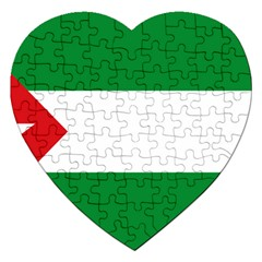 Flag Of Andalucista Youth Wing Of Andalusian Party Jigsaw Puzzle (heart) by abbeyz71