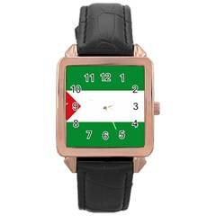 Flag Of Andalucista Youth Wing Of Andalusian Party Rose Gold Leather Watch  by abbeyz71