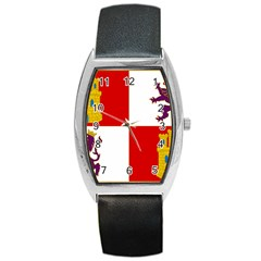 Flag Of Castile & León Barrel Style Metal Watch by abbeyz71