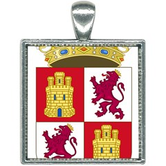 Coat Of Arms Of Castile And Le¨?n Square Necklace by abbeyz71
