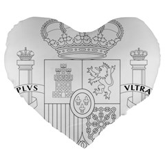 Coat Of Arms Of Spain Large 19  Premium Flano Heart Shape Cushions by abbeyz71