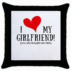I Love My Girlfriend Throw Pillow Case (black) by digitalartjunkie