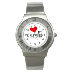 I Love My Girlfriend Stainless Steel Watch by digitalartjunkie