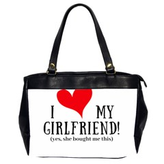 I Love My Girlfriend Oversize Office Handbag (2 Sides) by digitalartjunkie