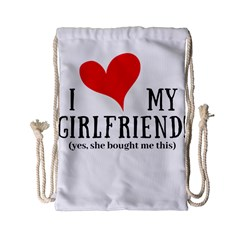 I Love My Girlfriend Drawstring Bag (small) by digitalartjunkie