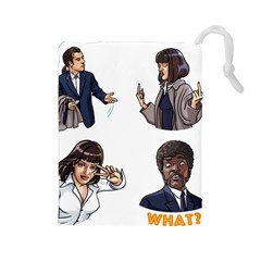 Pulp Fiction Drawstring Pouch (large) by digitalartjunkie