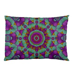 Water Garden Lotus Blossoms In Sacred Style Pillow Case by pepitasart