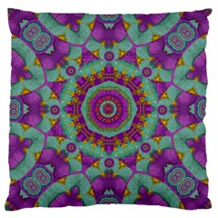 Water Garden Lotus Blossoms In Sacred Style Large Cushion Case (one Side) by pepitasart