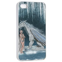 Wonderful Fairy With Ice Dragon Apple Iphone 4/4s Seamless Case (white)