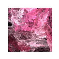 Pink Crystal Fractal Small Satin Scarf (square)