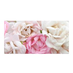 Pink And White Flowers Satin Wrap