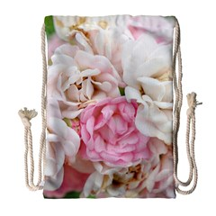 Pink And White Flowers Drawstring Bag (large)