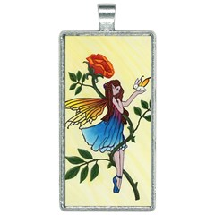 Rose Fairy Rectangle Necklace