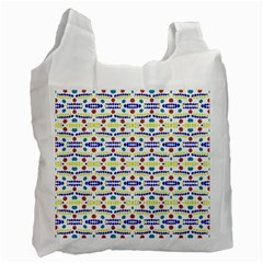 Retro Blue Yellow Brown Teal Dot Pattern Recycle Bag (one Side) by BrightVibesDesign